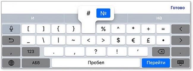 Значок номер на клавиатуре айфона